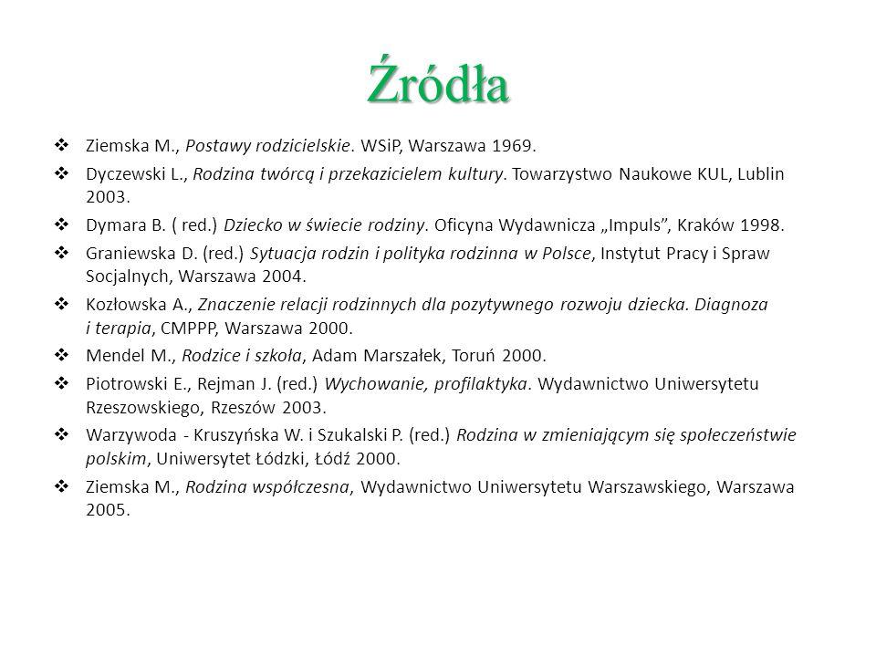 Źródła Ziemska M., Postawy rodzicielskie. WSiP, Warszawa 1969.