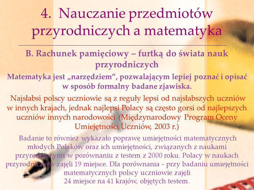 4. Nauczanie przedmiotów przyrodniczych a matematyka