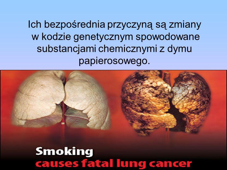 Ich bezpośrednia przyczyną są zmiany w kodzie genetycznym spowodowane substancjami chemicznymi z dymu papierosowego.