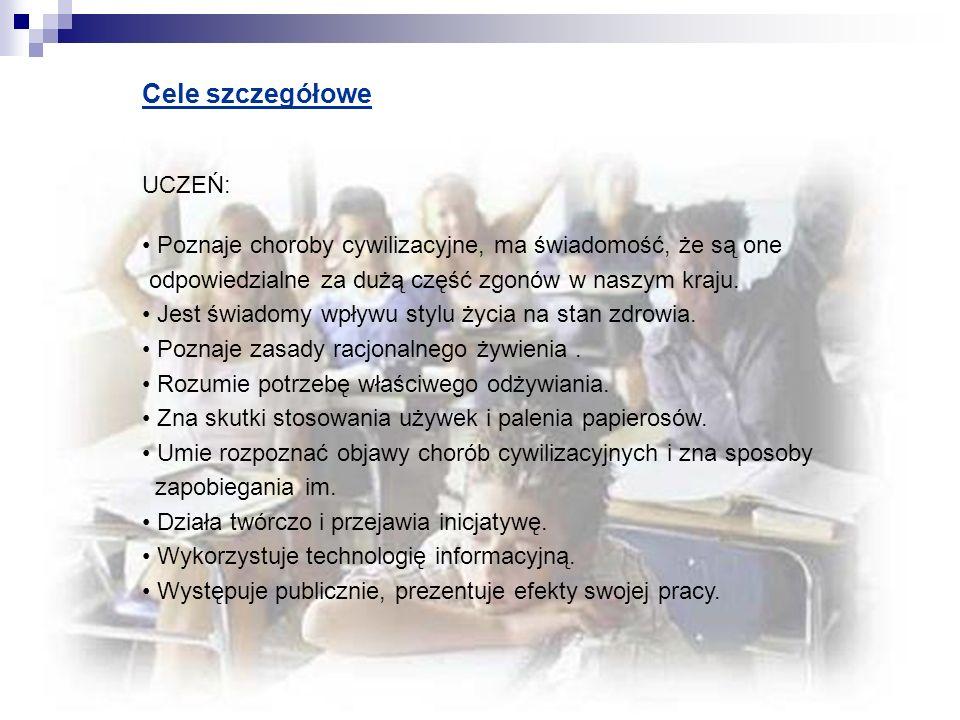Cele szczegółowe UCZEŃ:
