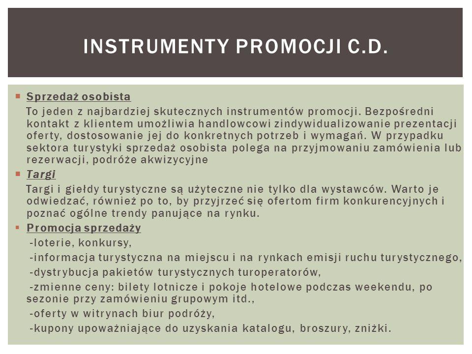 Instrumenty promocji c.d.