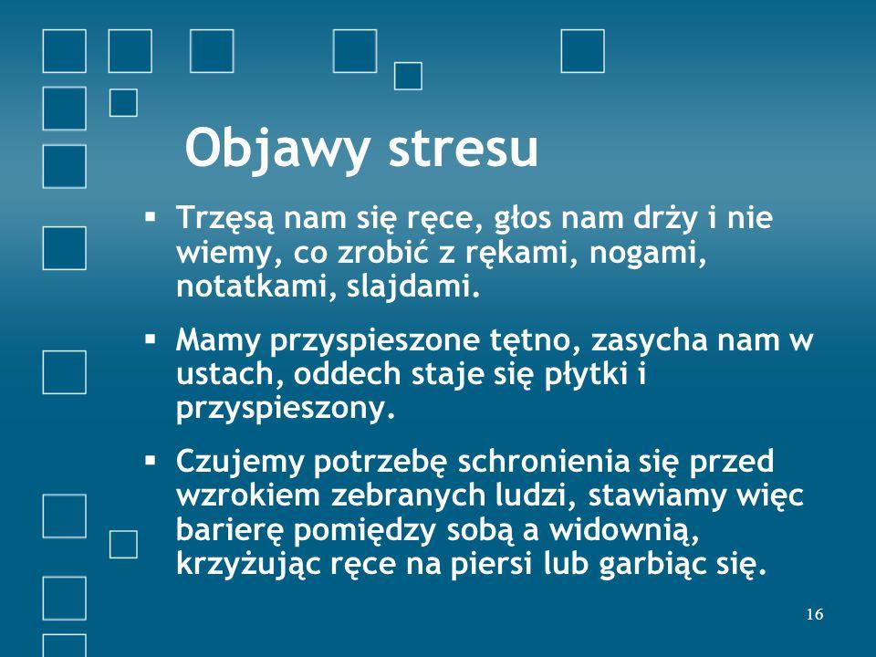 Objawy stresu Trzęsą nam się ręce, głos nam drży i nie wiemy, co zrobić z rękami, nogami, notatkami, slajdami.