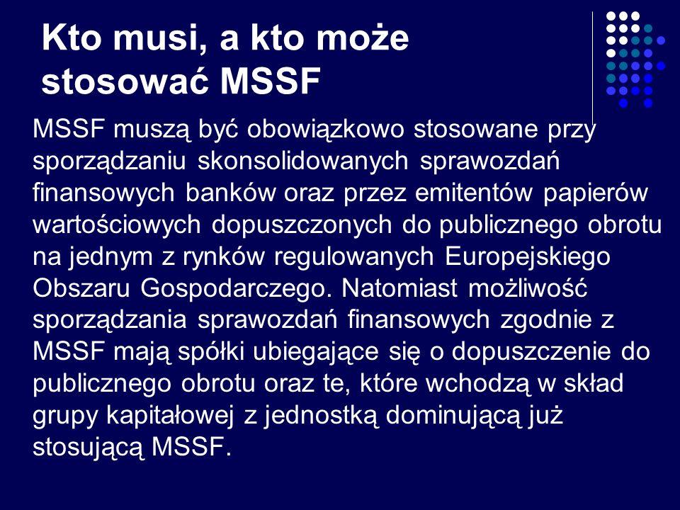 Kto musi, a kto może stosować MSSF