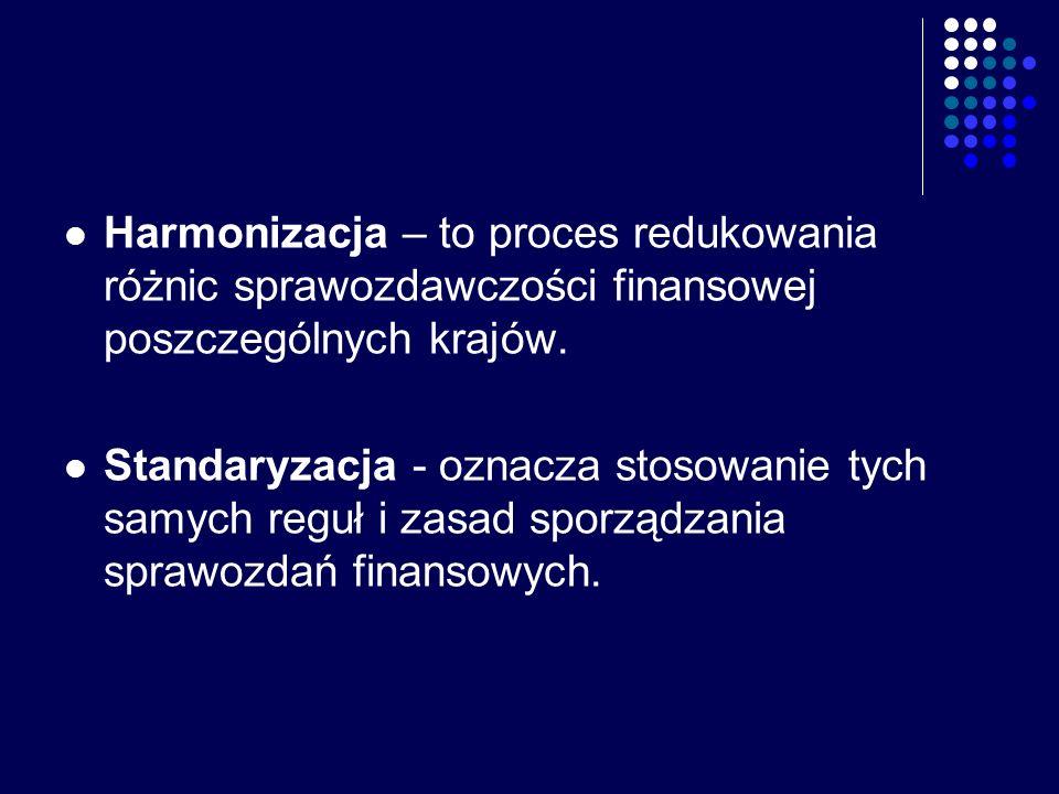 Harmonizacja – to proces redukowania różnic sprawozdawczości finansowej poszczególnych krajów.