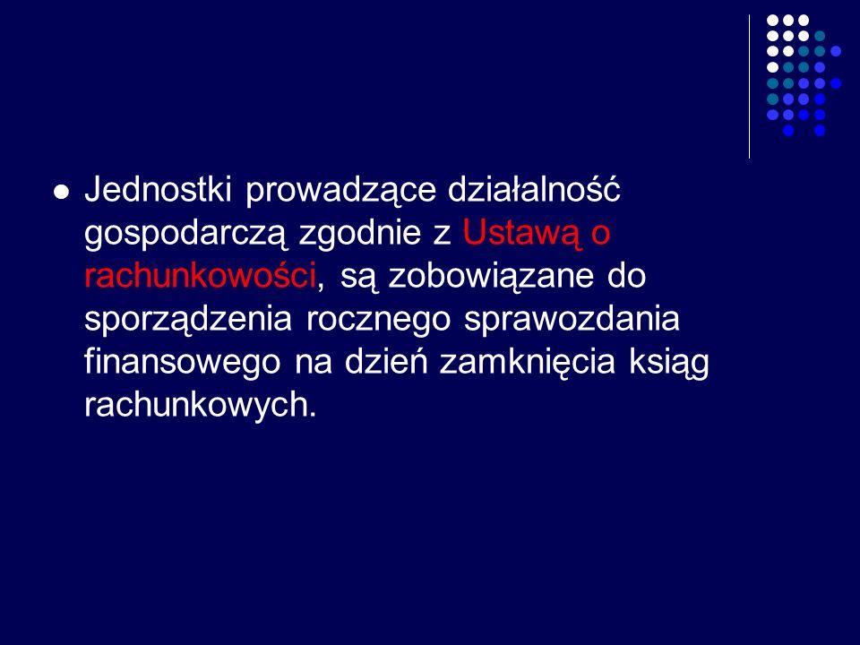 Jednostki prowadzące działalność gospodarczą zgodnie z Ustawą o rachunkowości, są zobowiązane do sporządzenia rocznego sprawozdania finansowego na dzień zamknięcia ksiąg rachunkowych.