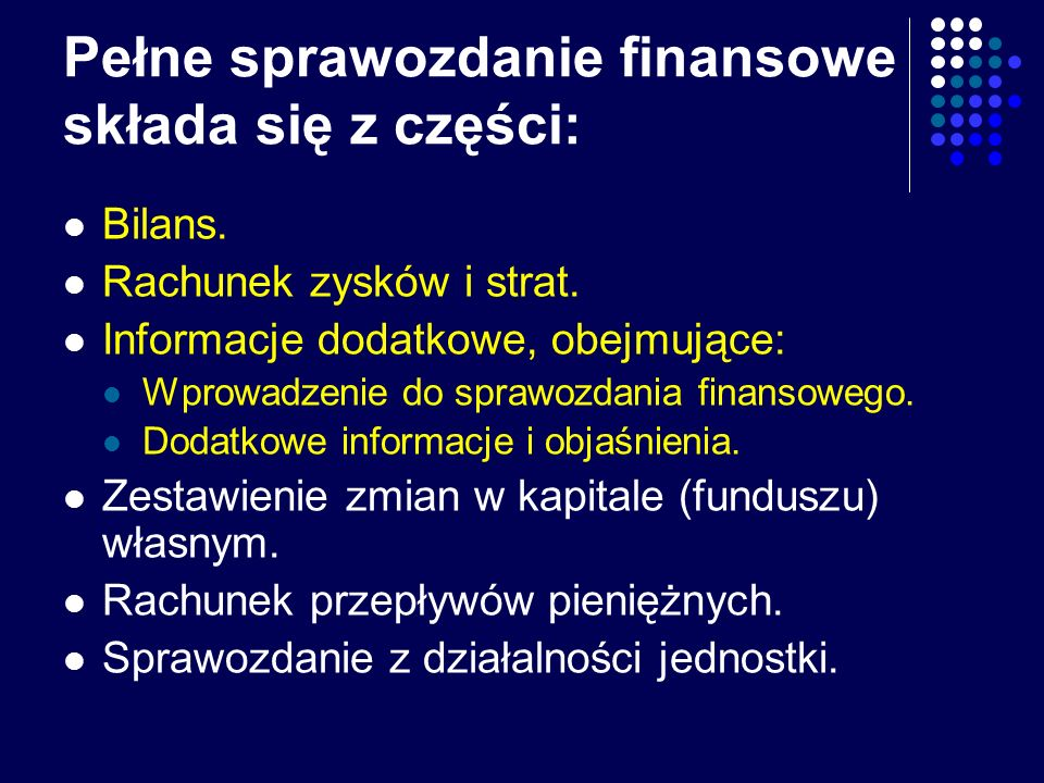 Pełne sprawozdanie finansowe składa się z części: