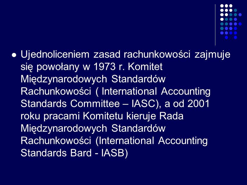 Ujednoliceniem zasad rachunkowości zajmuje się powołany w 1973 r