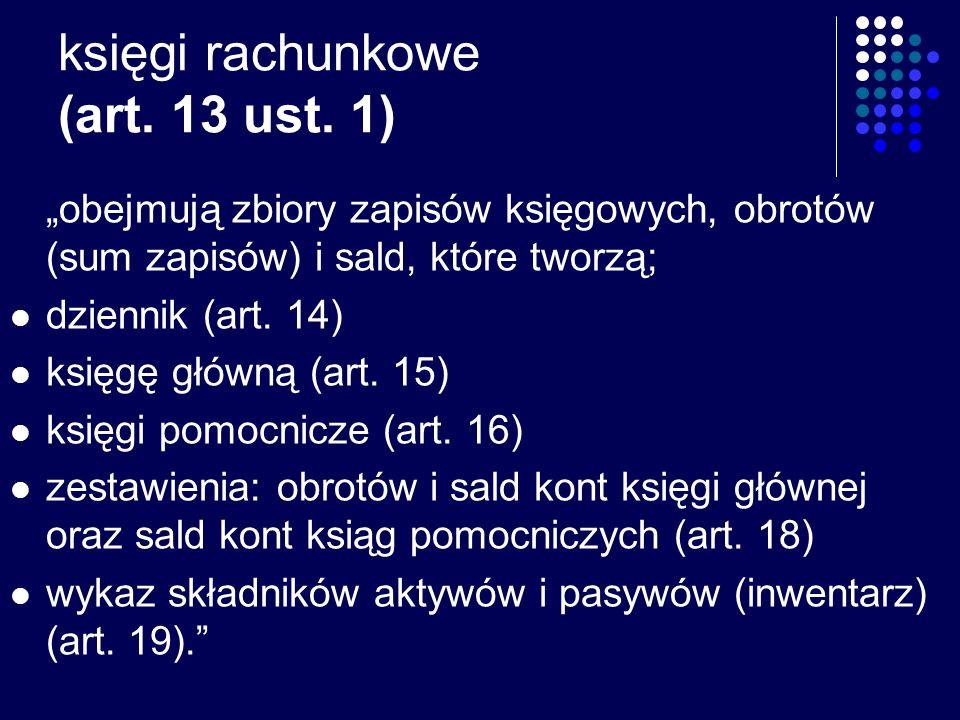 księgi rachunkowe (art. 13 ust. 1)