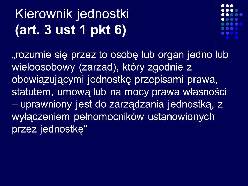 Kierownik jednostki (art. 3 ust 1 pkt 6)