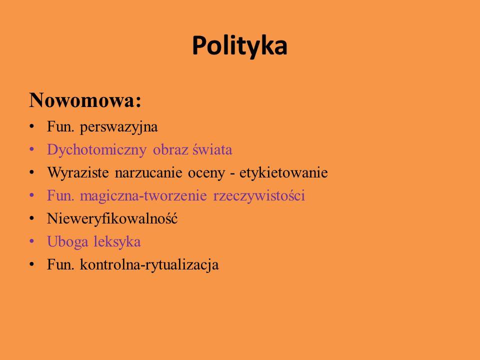 Polityka Nowomowa: Fun. perswazyjna Dychotomiczny obraz świata
