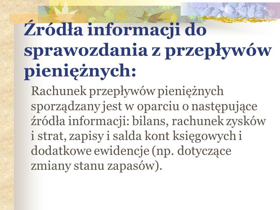 Źródła informacji do sprawozdania z przepływów pieniężnych: