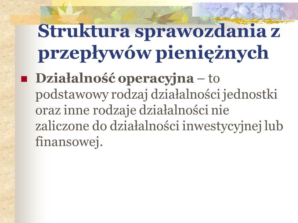 Struktura sprawozdania z przepływów pieniężnych