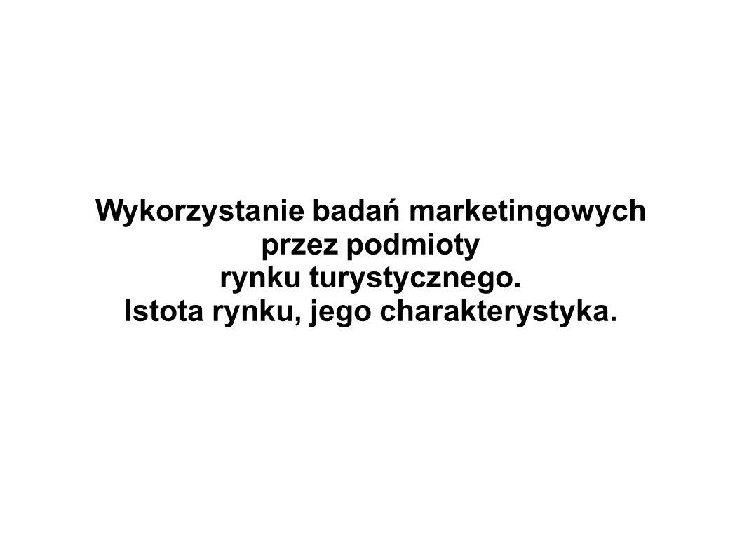 Wykorzystanie badań marketingowych Istota rynku, jego charakterystyka.