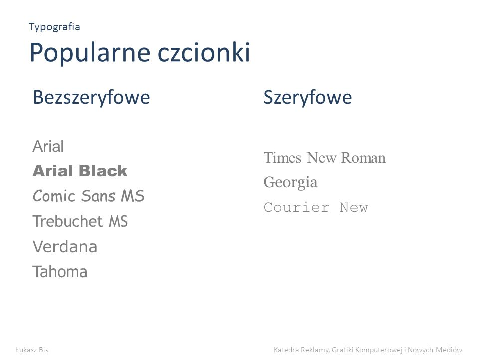 Typografia Popularne czcionki