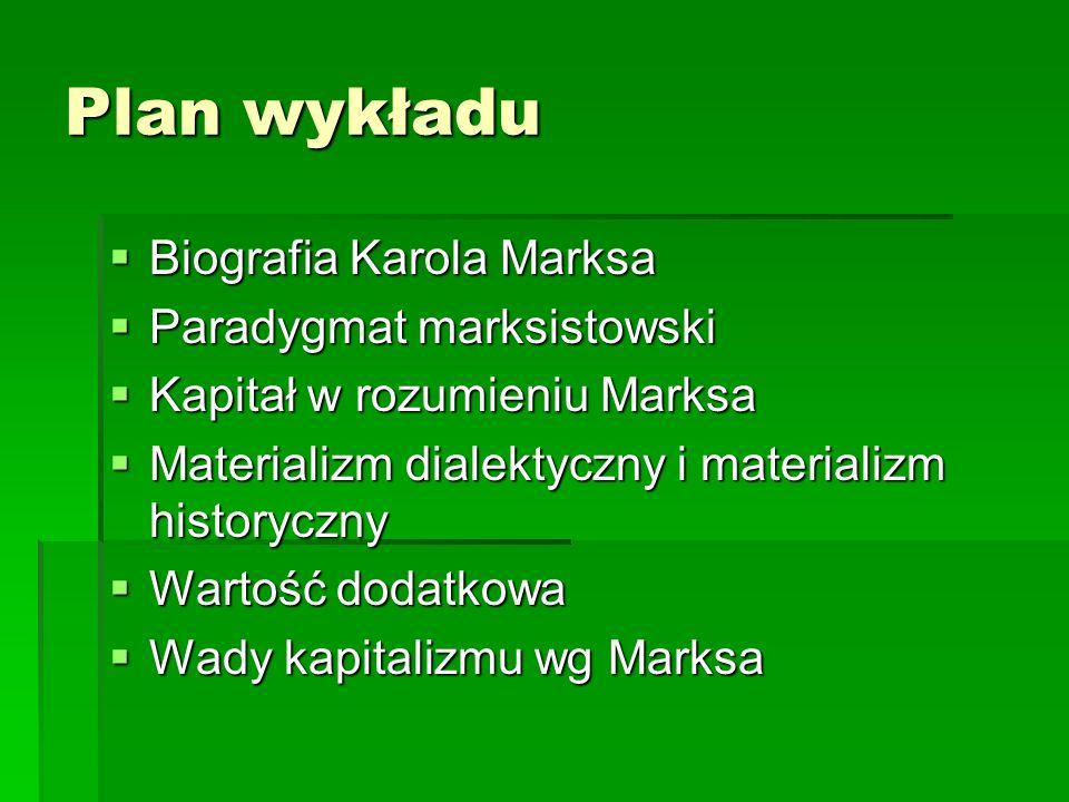 Plan wykładu Biografia Karola Marksa Paradygmat marksistowski