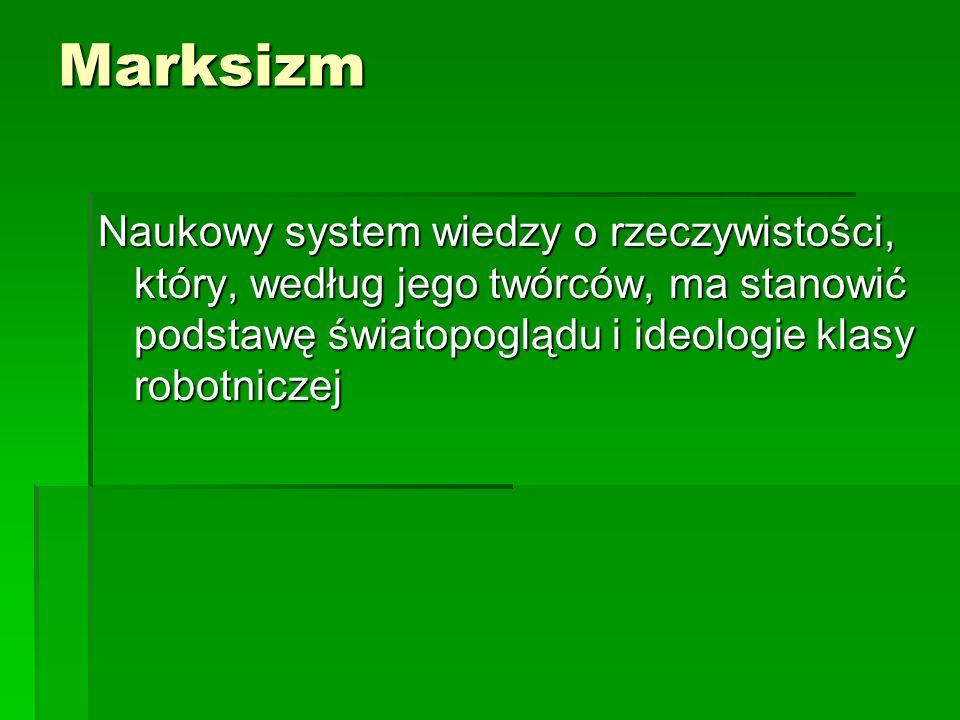 Marksizm Naukowy system wiedzy o rzeczywistości, który, według jego twórców, ma stanowić podstawę światopoglądu i ideologie klasy robotniczej.