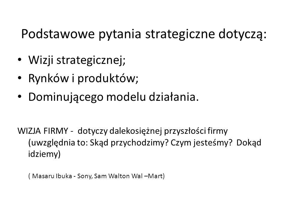 Podstawowe pytania strategiczne dotyczą: