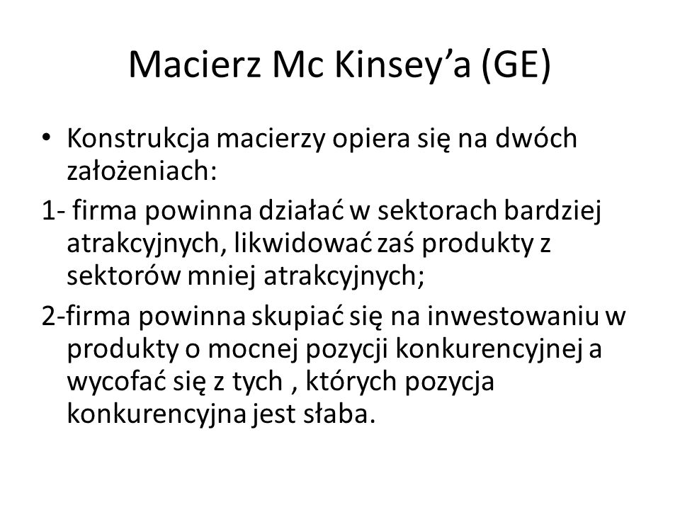 Macierz Mc Kinsey'a (GE)