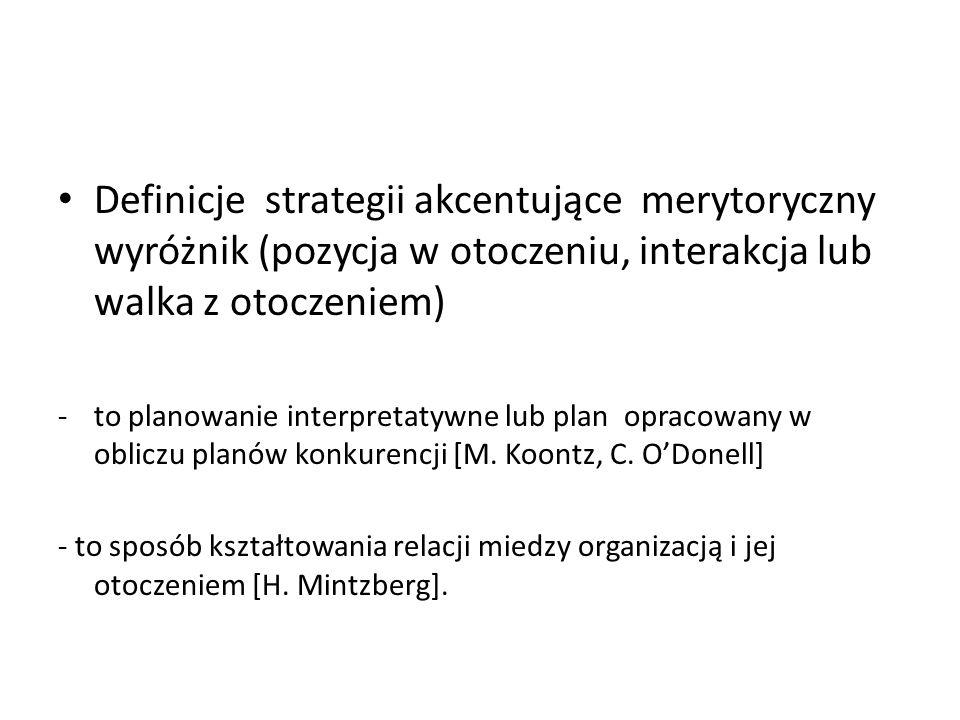 Definicje strategii akcentujące merytoryczny wyróżnik (pozycja w otoczeniu, interakcja lub walka z otoczeniem)