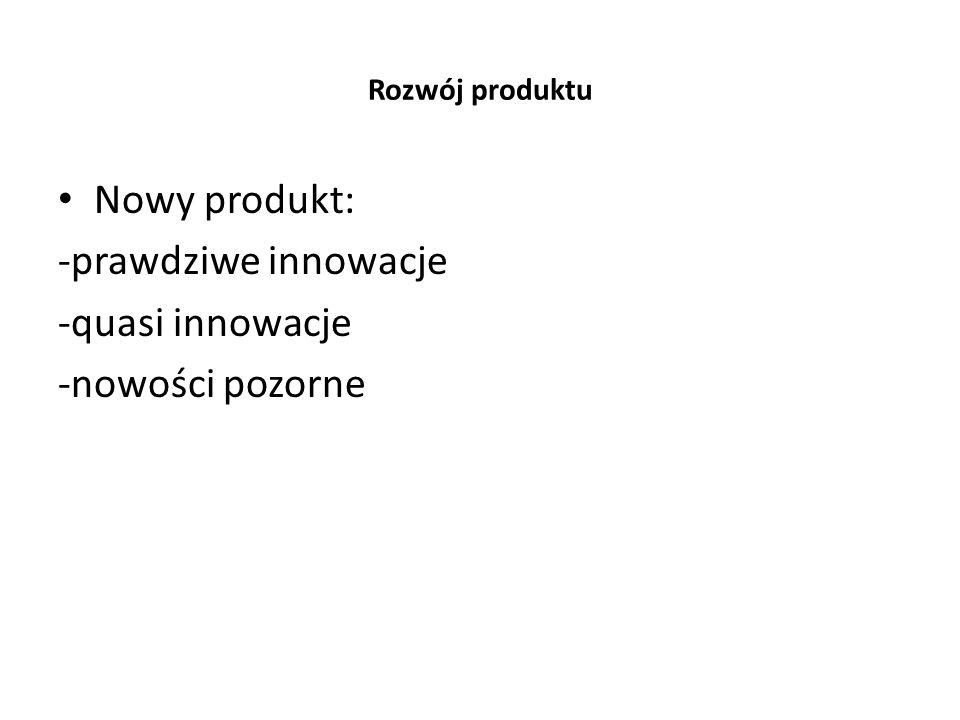 Nowy produkt: -prawdziwe innowacje -quasi innowacje -nowości pozorne