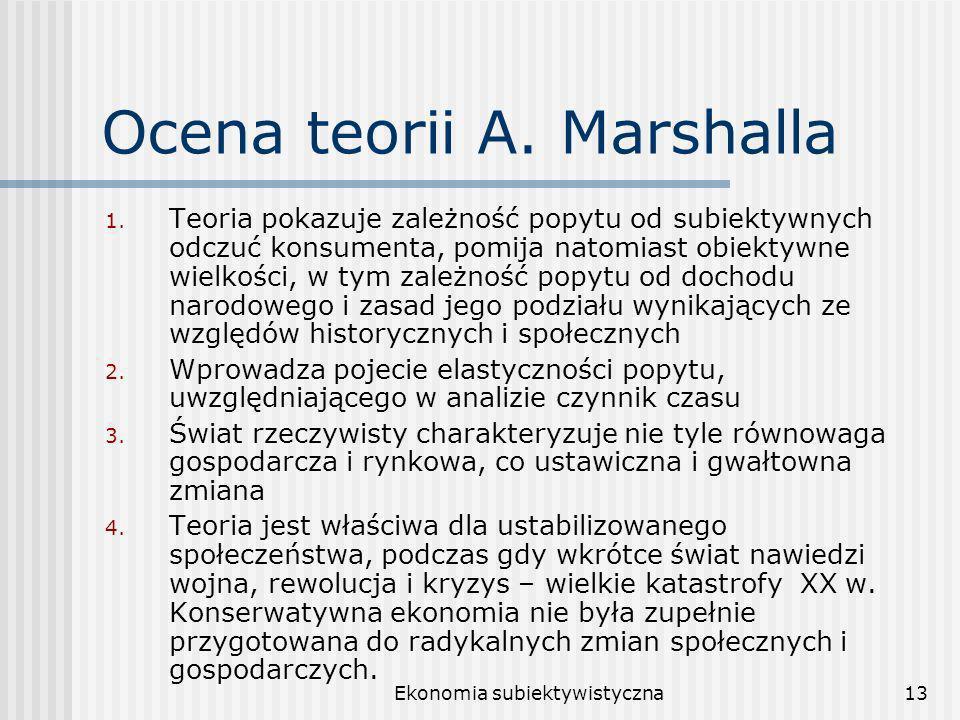 Ocena teorii A. Marshalla