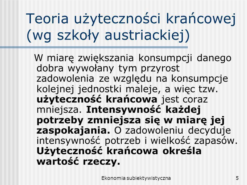 Teoria użyteczności krańcowej (wg szkoły austriackiej)