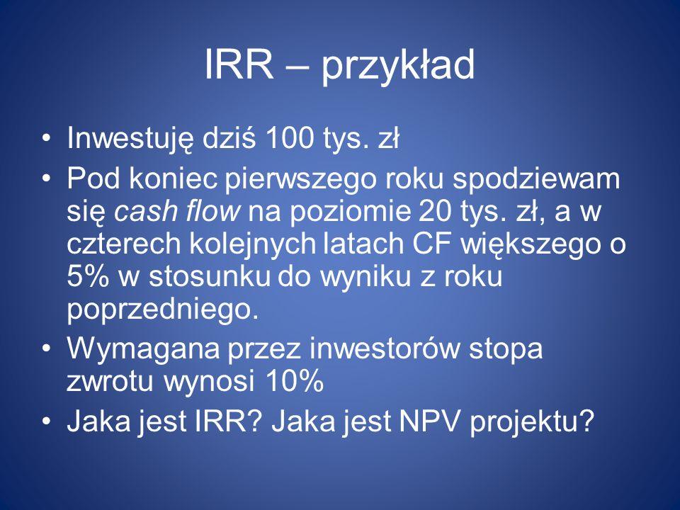 IRR – przykład Inwestuję dziś 100 tys. zł