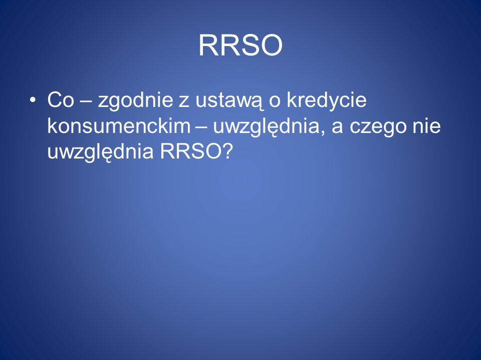 RRSO Co – zgodnie z ustawą o kredycie konsumenckim – uwzględnia, a czego nie uwzględnia RRSO