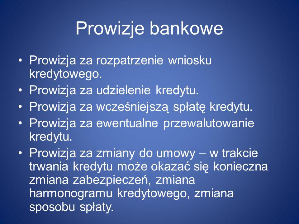 Prowizje bankowe Prowizja za rozpatrzenie wniosku kredytowego.