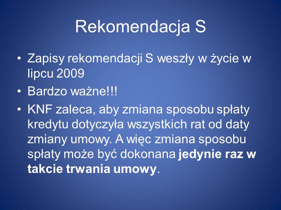 Rekomendacja S Zapisy rekomendacji S weszły w życie w lipcu 2009
