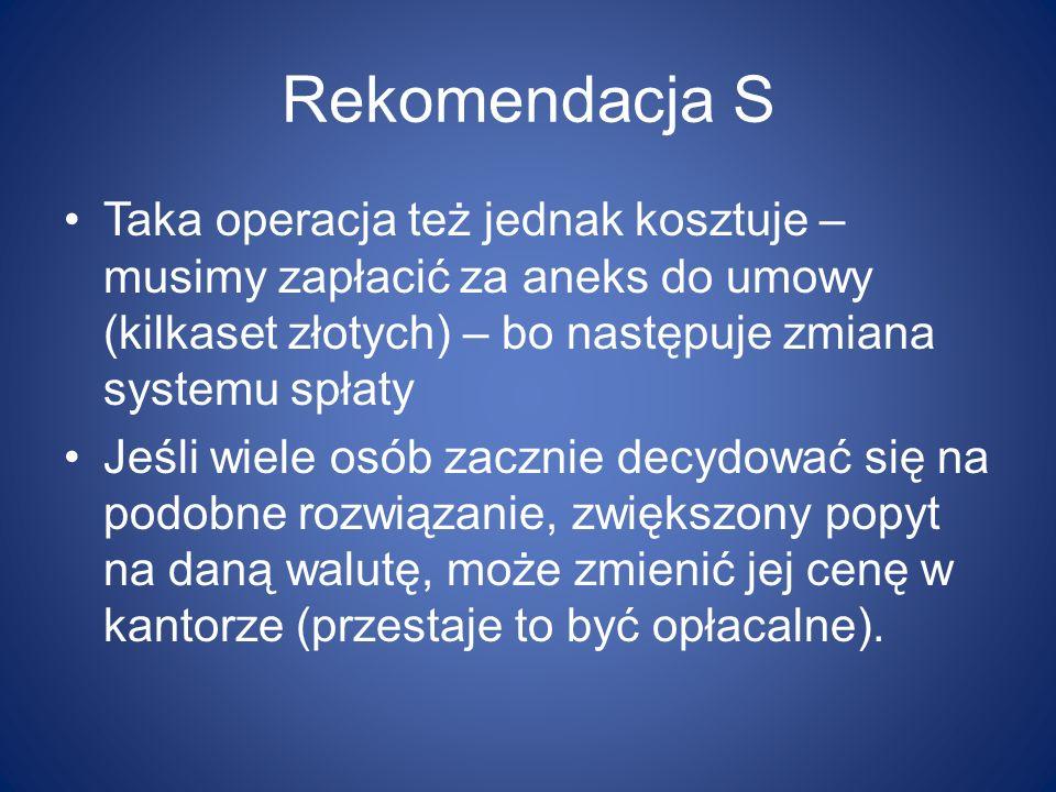 Rekomendacja S Taka operacja też jednak kosztuje – musimy zapłacić za aneks do umowy (kilkaset złotych) – bo następuje zmiana systemu spłaty.