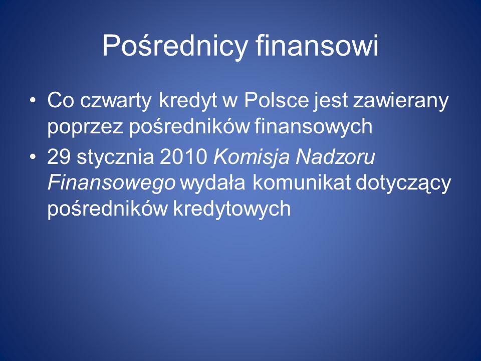 Pośrednicy finansowi Co czwarty kredyt w Polsce jest zawierany poprzez pośredników finansowych.