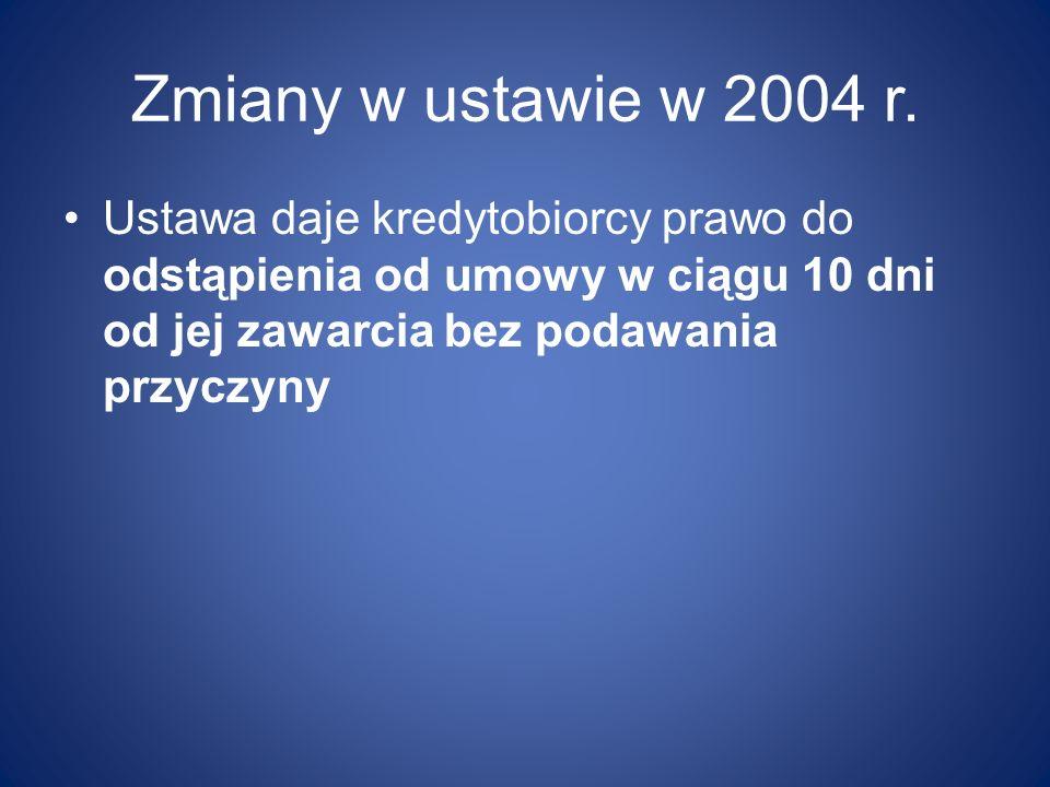 Zmiany w ustawie w 2004 r.