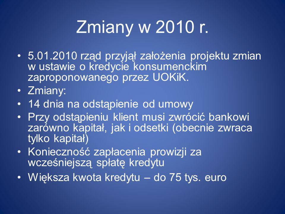 Zmiany w 2010 r. 5.01.2010 rząd przyjął założenia projektu zmian w ustawie o kredycie konsumenckim zaproponowanego przez UOKiK.
