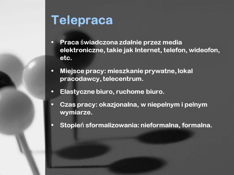 Telepraca Praca świadczona zdalnie przez media elektroniczne, takie jak Internet, telefon, wideofon, etc.