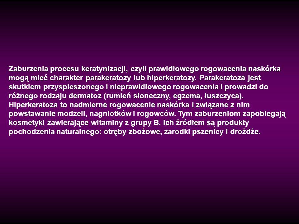 Zaburzenia procesu keratynizacji, czyli prawidłowego rogowacenia naskórka mogą mieć charakter parakeratozy lub hiperkeratozy.