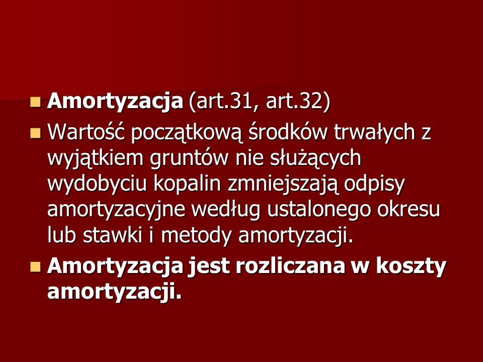 Amortyzacja (art.31, art.32)