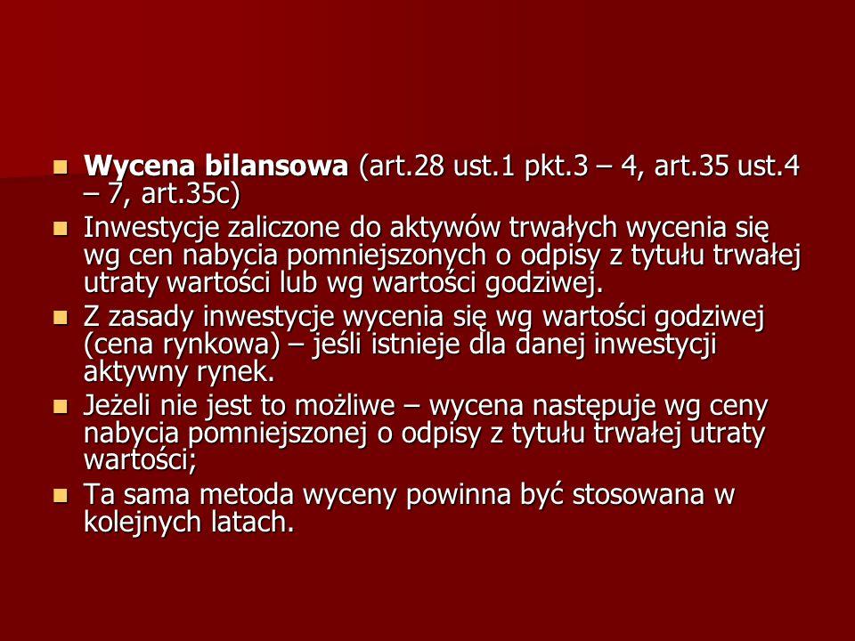 Wycena bilansowa (art.28 ust.1 pkt.3 – 4, art.35 ust.4 – 7, art.35c)