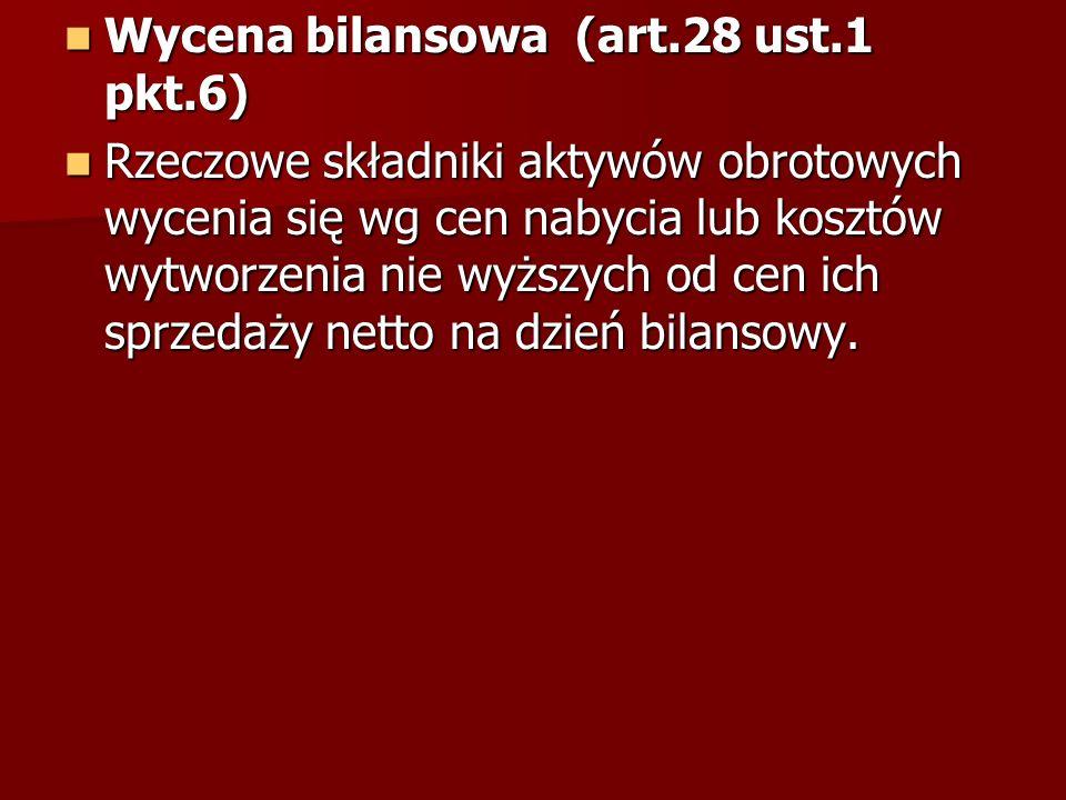 Wycena bilansowa (art.28 ust.1 pkt.6)