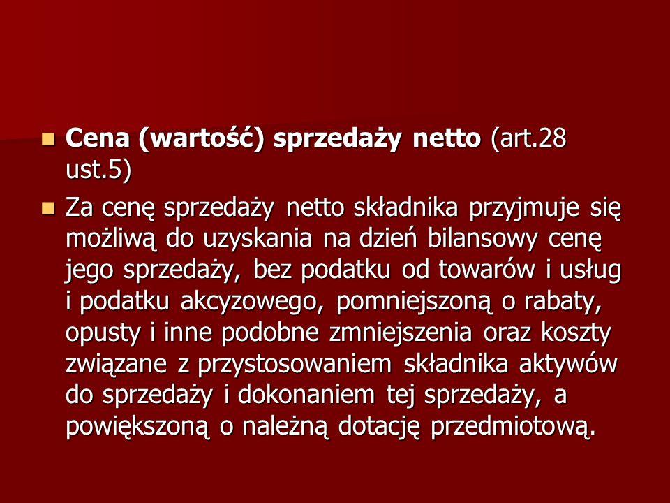 Cena (wartość) sprzedaży netto (art.28 ust.5)