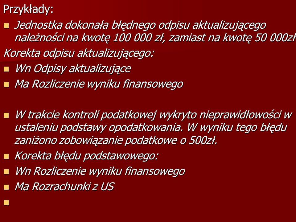 Przykłady:Jednostka dokonała błędnego odpisu aktualizującego należności na kwotę 100 000 zł, zamiast na kwotę 50 000zł.