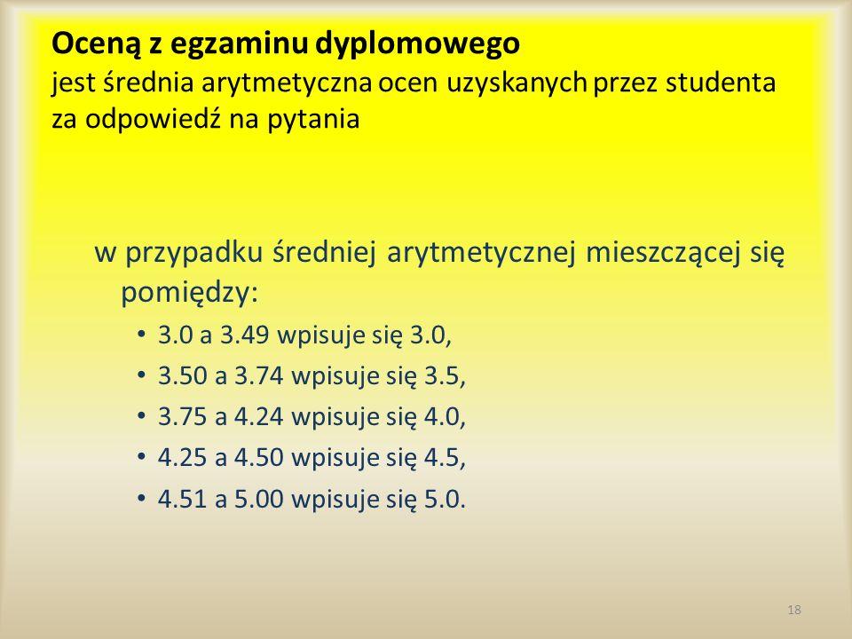 Oceną z egzaminu dyplomowego jest średnia arytmetyczna ocen uzyskanych przez studenta za odpowiedź na pytania