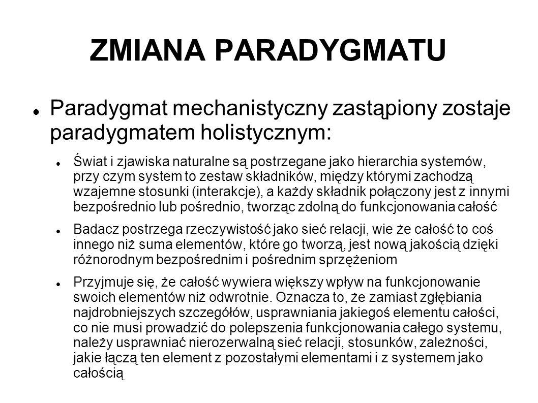 ZMIANA PARADYGMATU Paradygmat mechanistyczny zastąpiony zostaje paradygmatem holistycznym: