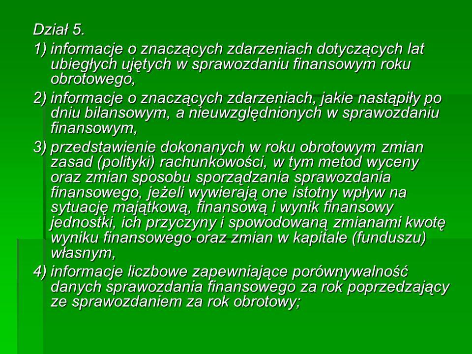 Dział 5. 1) informacje o znaczących zdarzeniach dotyczących lat ubiegłych ujętych w sprawozdaniu finansowym roku obrotowego,