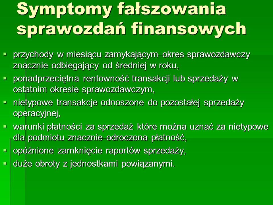 Symptomy fałszowania sprawozdań finansowych