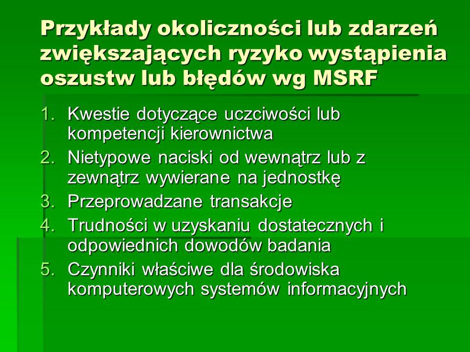 Przykłady okoliczności lub zdarzeń zwiększających ryzyko wystąpienia oszustw lub błędów wg MSRF