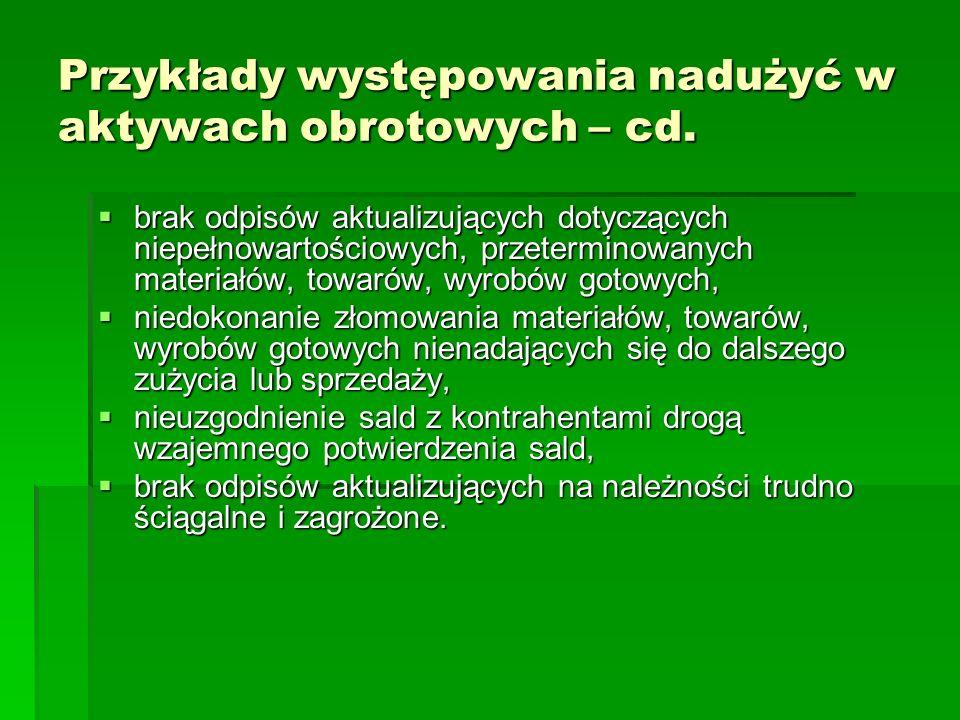 Przykłady występowania nadużyć w aktywach obrotowych – cd.