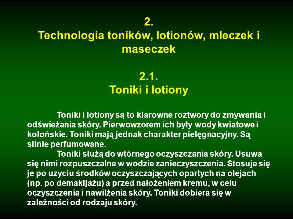 Technologia toników, lotionów, mleczek i maseczek