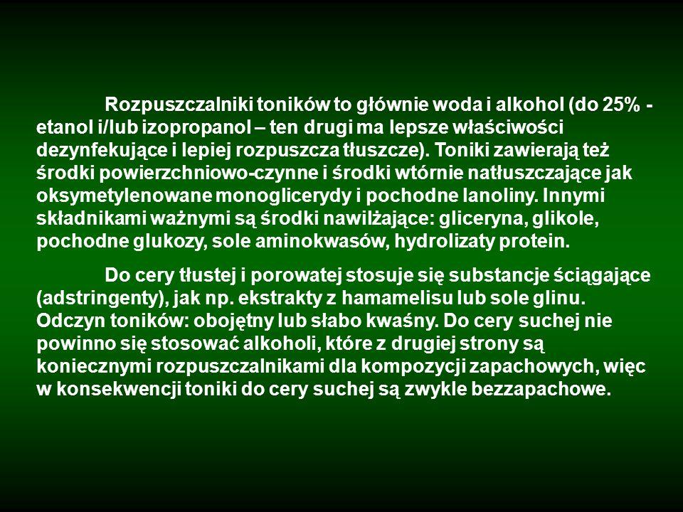 Rozpuszczalniki toników to głównie woda i alkohol (do 25% - etanol i/lub izopropanol – ten drugi ma lepsze właściwości dezynfekujące i lepiej rozpuszcza tłuszcze). Toniki zawierają też środki powierzchniowo-czynne i środki wtórnie natłuszczające jak oksymetylenowane monoglicerydy i pochodne lanoliny. Innymi składnikami ważnymi są środki nawilżające: gliceryna, glikole, pochodne glukozy, sole aminokwasów, hydrolizaty protein.
