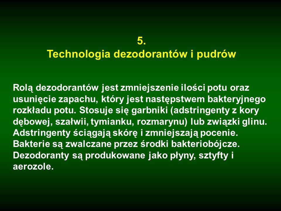 Technologia dezodorantów i pudrów